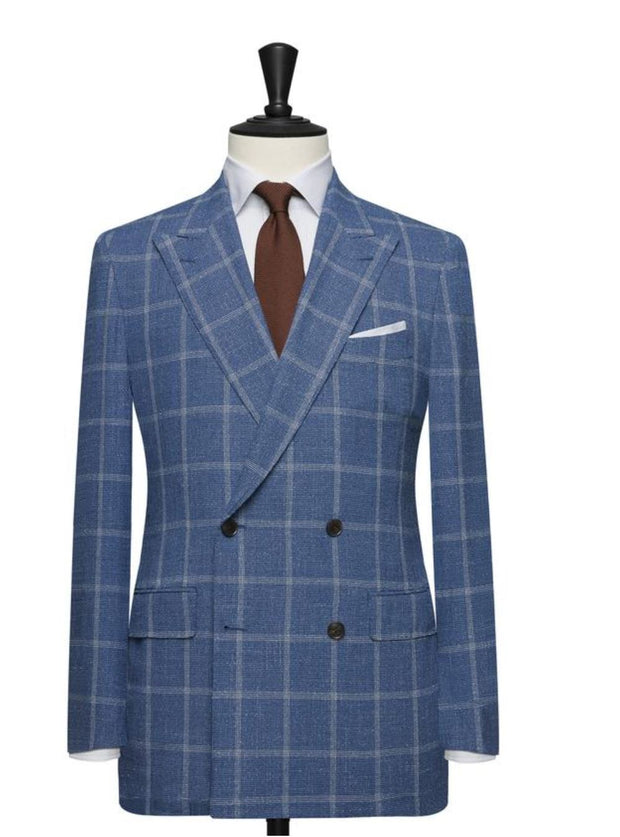 Blue Window-Pane Double Breasted Wide Lapel Suit - Resso Roth