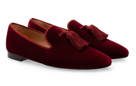 Burgundy Wine Red Tassel Velvet Loafers - Resso Roth