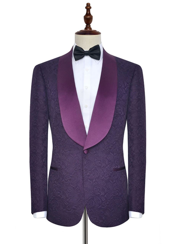 Purple Embroidered Wide-Shawl Lapel Tuxedo - Resso Roth