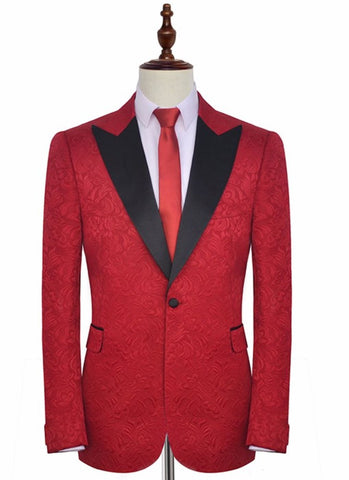 68c2ed7c899 Red Embroidered Wide Lapel Lapel Tuxedo - Resso Roth