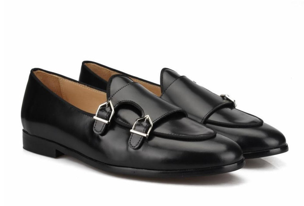 da6aabc62215 Black Leather Flat Double Monk Loafers