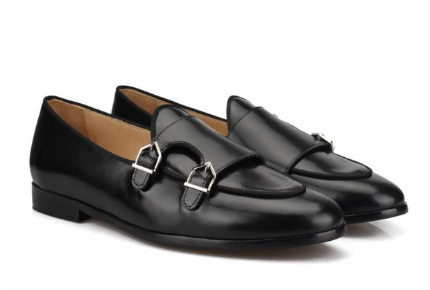 Black Leather Flat Double Monk Loafers - Resso Roth