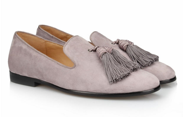 Grey Tassel Velvet Loafers - Resso Roth