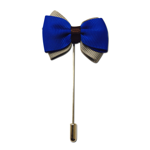 Blue and Grey Bowtie Lapel Pin Boutonniere - Resso Roth