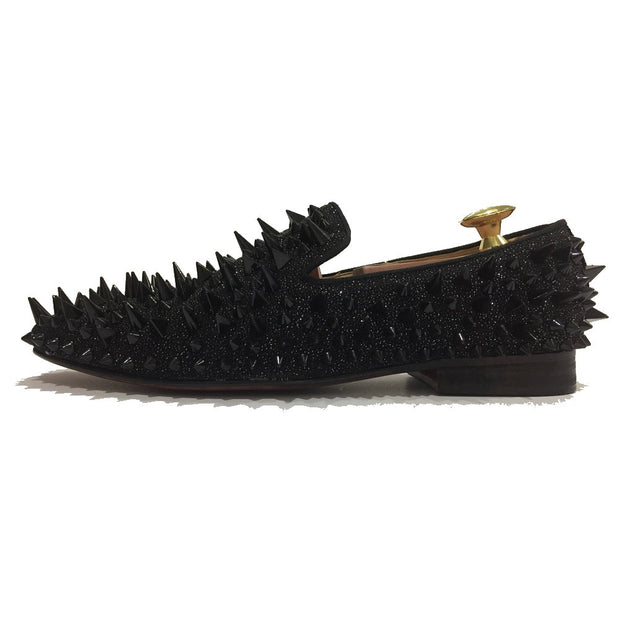 Black Riveted Spiked Loafers - Resso Roth
