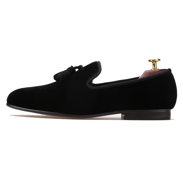Black Tassel Velvet Loafers - Resso Roth