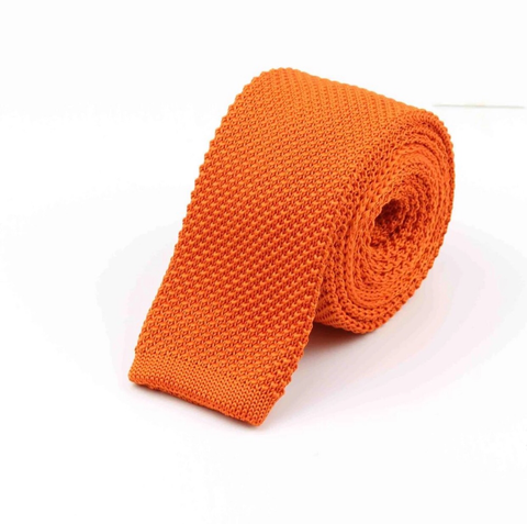 """The Tangerine"" Skinny Knit Tie - Resso Roth"