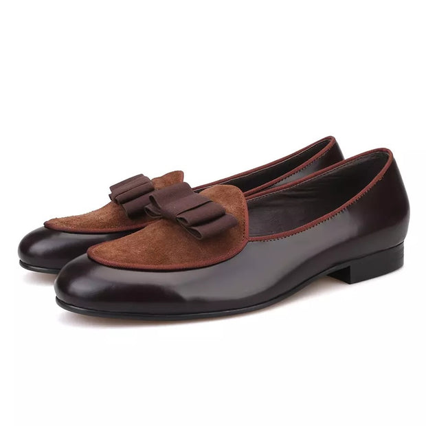Brown Velvet and Patent Leather Brown Bow Loafers