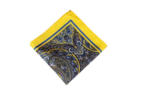 Yellow Paisley Pocket Square - Resso Roth