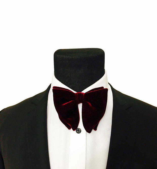Burgundy Velvet Bow Tie - The Butterfly - Resso Roth