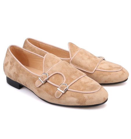 Tan Suede Double Monk Loafers