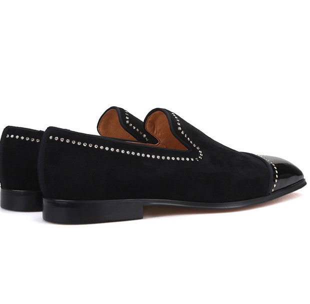 Black Velvet and Patent Leather Crystal Line Loafers