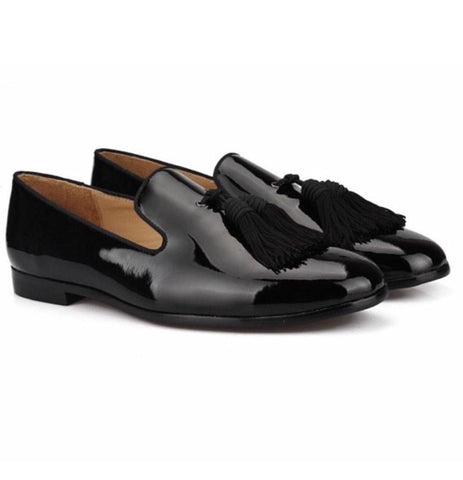 Black Big Tassel Patent Leather Loafers