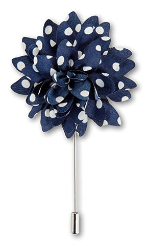 White and Blue Polka Dot Flower Lapel Pin Boutonniere - Resso Roth