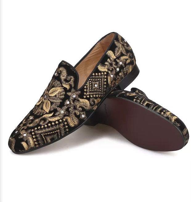Black Embroidered Gold Velvet Loafers