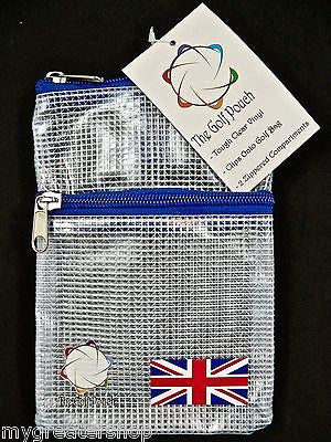 The GOLF POUCH, England, Union Jack Flag, See Through Golf Pouch. USA Shop - My Greater Shop