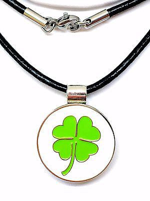 Golfer's Magnetic Golf Ball Marker Necklace - Green 4 Leaf Lucky Clover - My Greater Shop