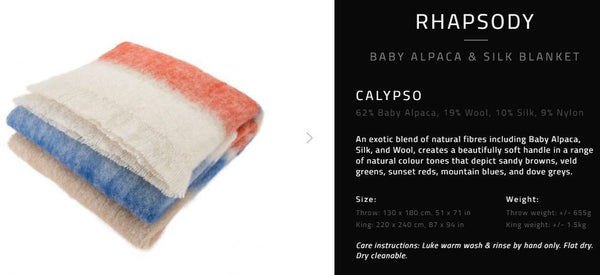 "Hinterveld ALPACA & SILK THROW. Rhapsody ""Calypso"". Hand Woven in South Africa! - My Greater Shop"