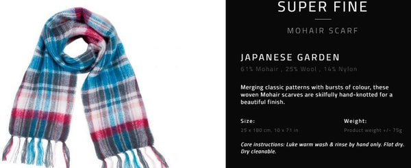 Hinterveld MOHAIR WOOL Scarf. Superfine - Japanese Garden Design. South African. - My Greater Shop