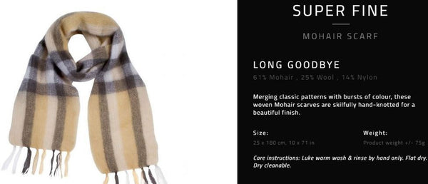 "Hinterveld MOHAIR WOOL Scarf. Superfine - ""Long Goodbye"" Design - My Greater Shop"