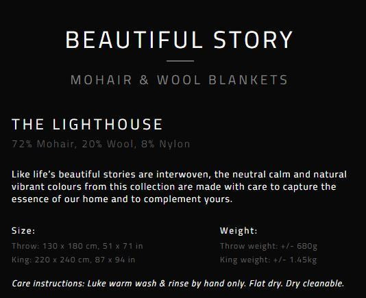 "MOHAIR WOOL THROW by Hinterveld. BEAUTIFUL STORY ""THE LIGHTHOUSE"" - My Greater Shop"