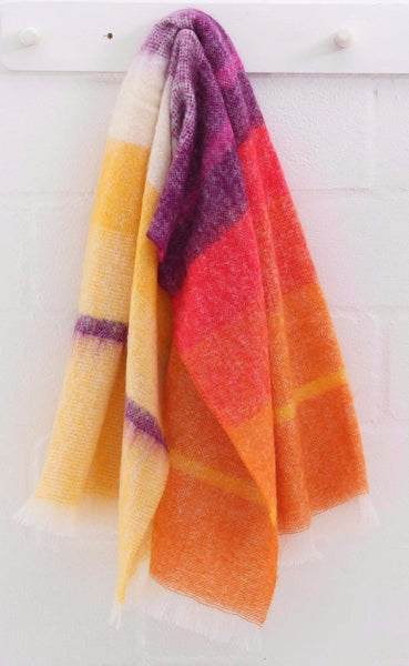 MOHAIR WOOL THROW by Hinterveld. BEAUTIFUL STORY - AFRICAN BRIGHT STRIPES - My Greater Shop