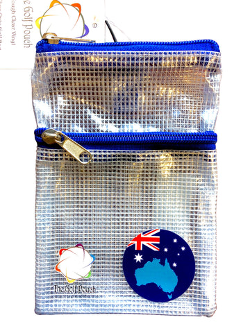 The Golf Pouch, Australian / Aussie Map Flag, See Through Pouch for Accessories