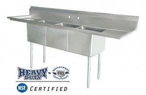 "Stainless Steel 3 Compartment Sink 90"" x 24"" with 2 Drainboards - AB Restaurant Equipment"