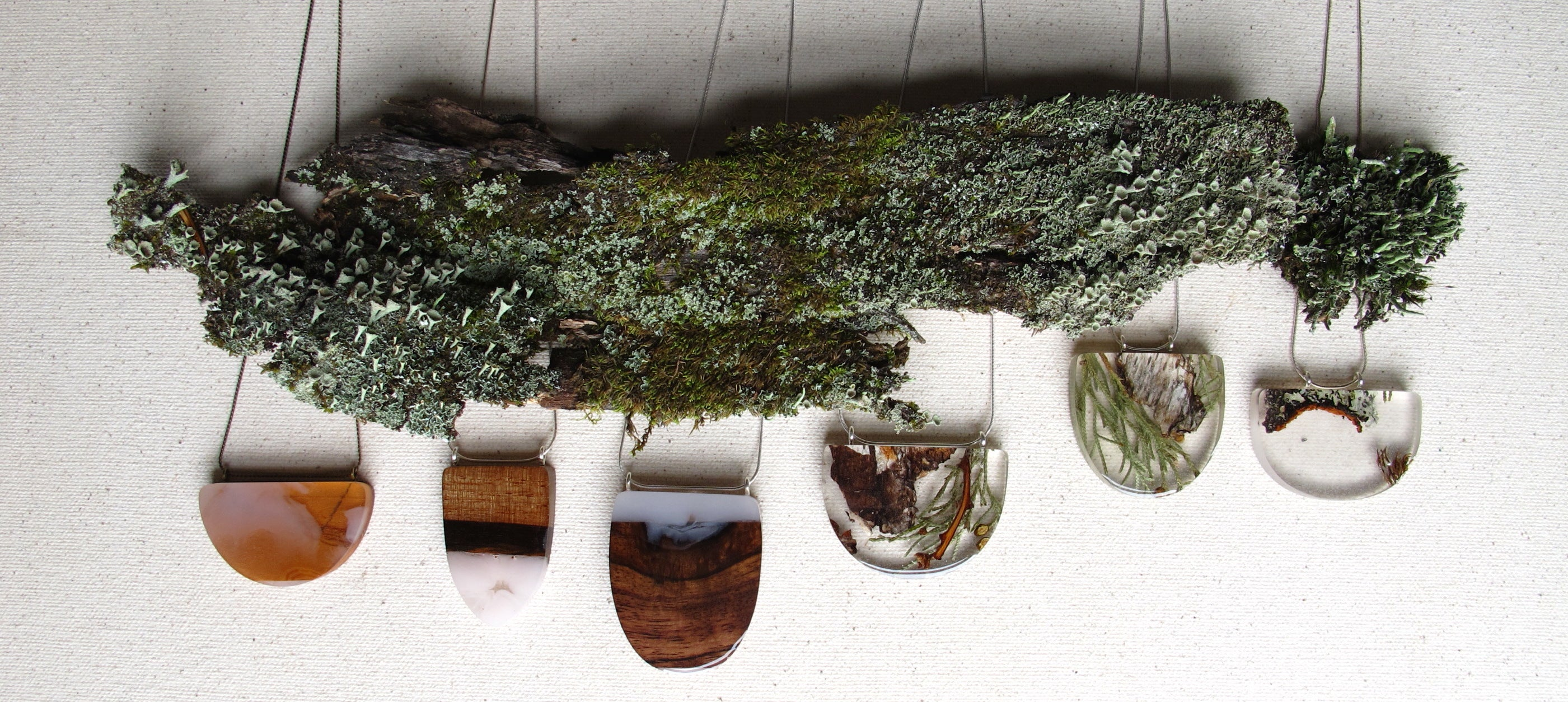 handmade wood jewelry resin and bark, lichens