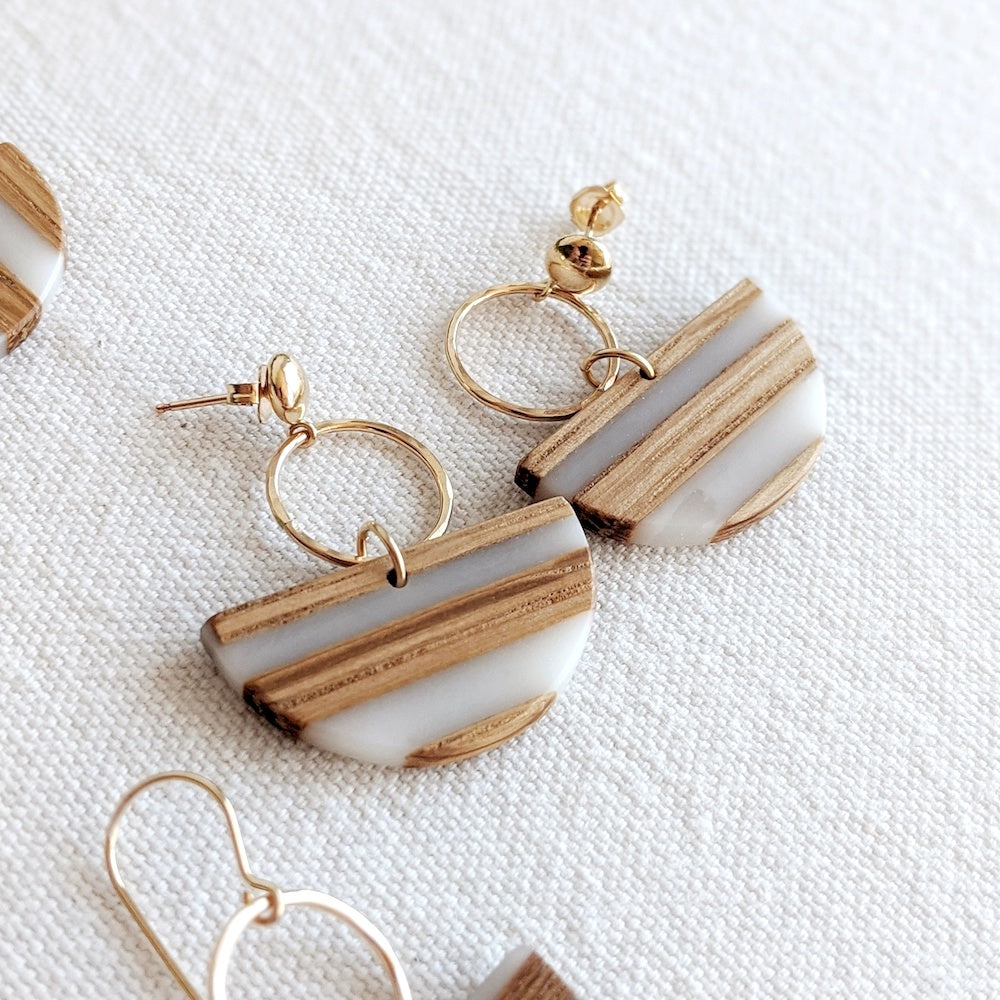 Halfmoon Wood & Resin Earring - Stud backing in 14k gold-fill & silver