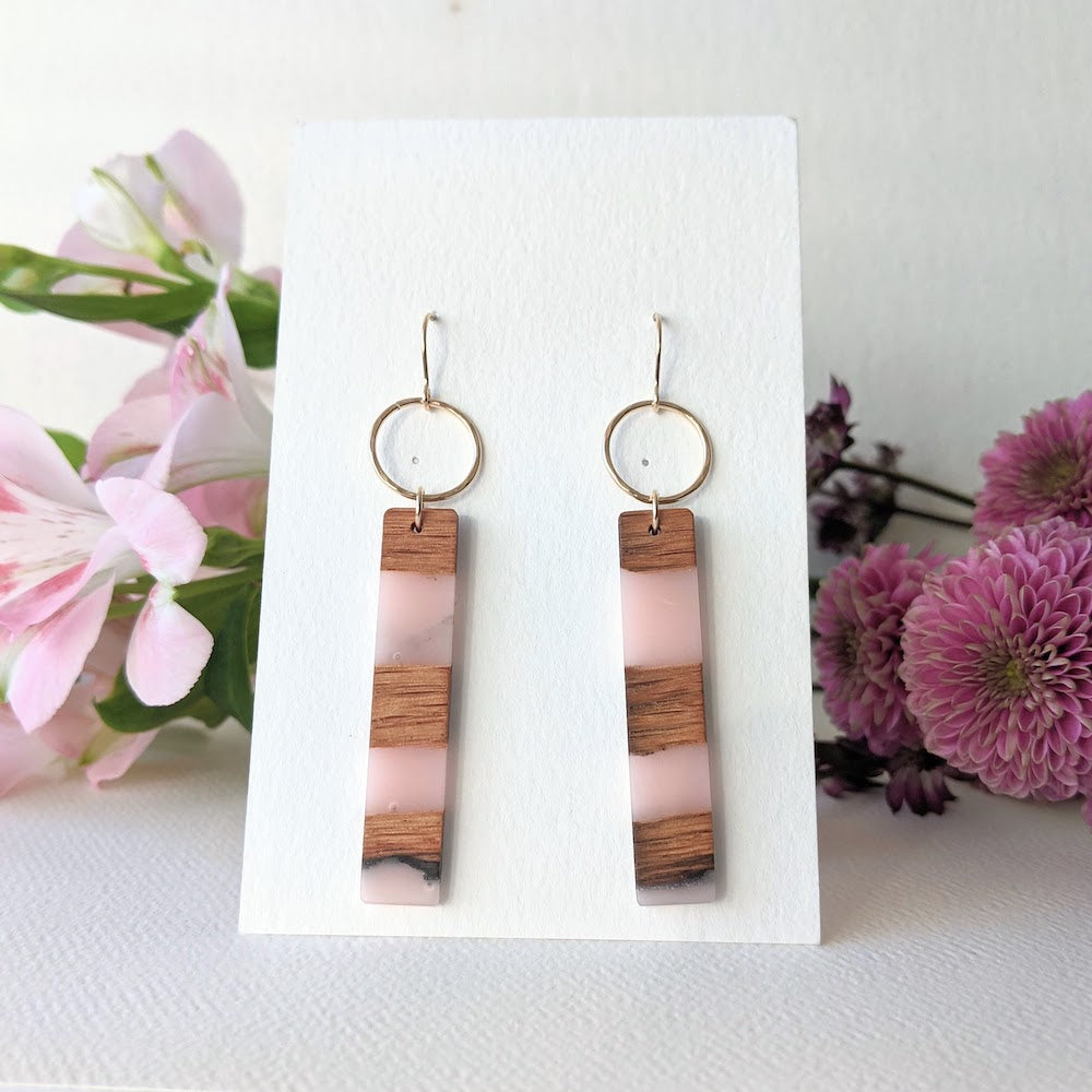 Dangle Wood Earrings with Pink Resin. Handmade by Wild Blue Yonder. Wood Jewelry
