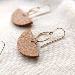 "Halfmoon ""Dots"" Oak Earrings (Silver & Gold-fill)"