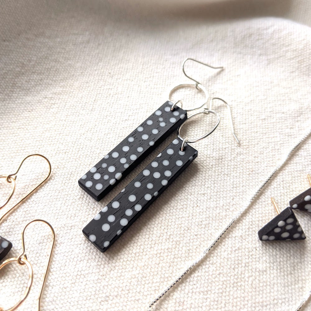 "Long ""Dots"" Ebony Wood Earrings on Hooks"