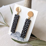 "Long ""Dots"" Wood Earrings on 14k Gold-filled Studs"
