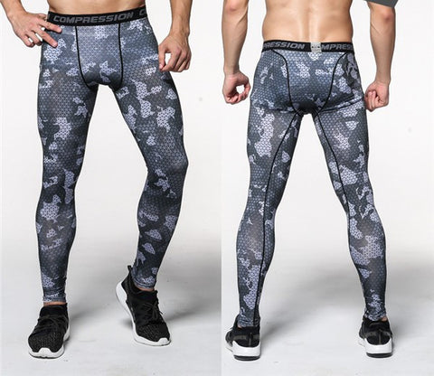 Camouflage Black and White Compression Leggings for Men