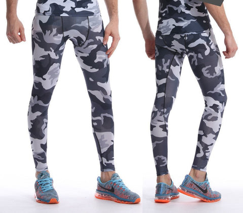Camouflage Black and White Compression Pants for Men
