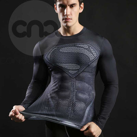 Superhero Superman's 2013-Man of Steel Black Compression Long Sleeve