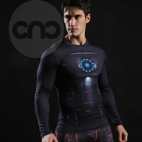 Iron Man Tony Stark Arc Reactor Compression Long Sleeves