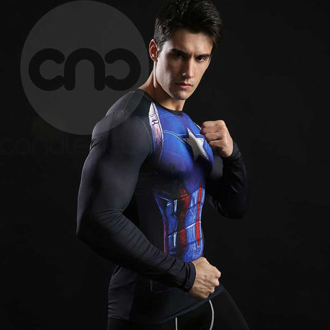 Superhero Captain America USO Soldier Compression Long Sleeves