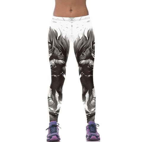 Superhero Batman Grey and White Leggings for Women