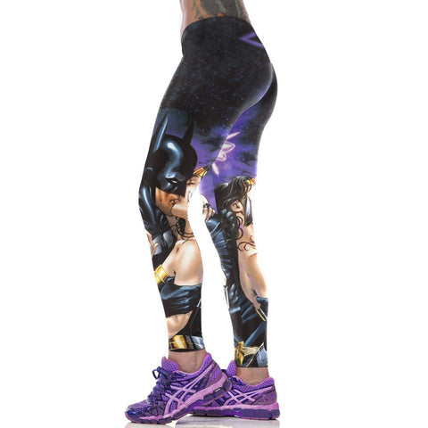 Superhero Batman and his Lover Leggings for Women