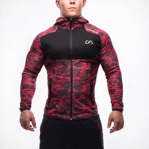 Red Camouflage Gym Aesthetics Hoodie Men Bodybuilding Pullover Sweatshirt