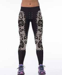 Rose Printed in Black Leggings for Women