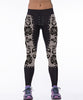 Image of Rose Printed in Black Leggings for Women