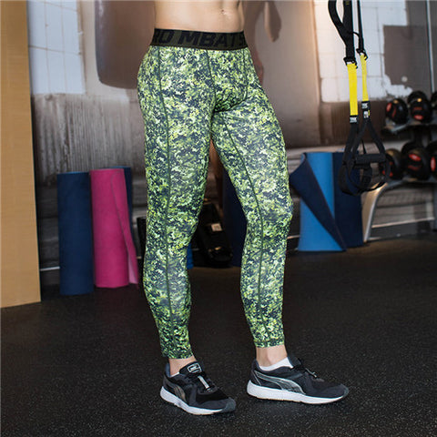 Camouflage Green Men Compression Leggings