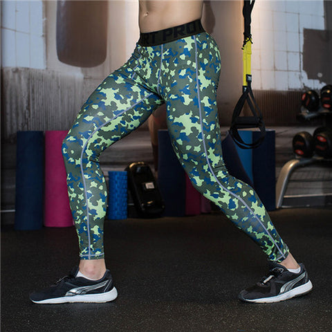 Camouflage Green mix Blue Men Compression Leggings