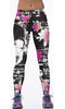 Image of Black Skull with Flowers Graphic Sports Leggings for Women