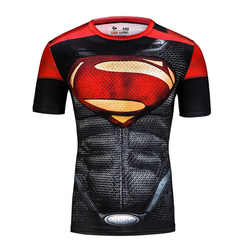Superhero Superman's 2013-Man of Steel Red and Black Compression Shirt