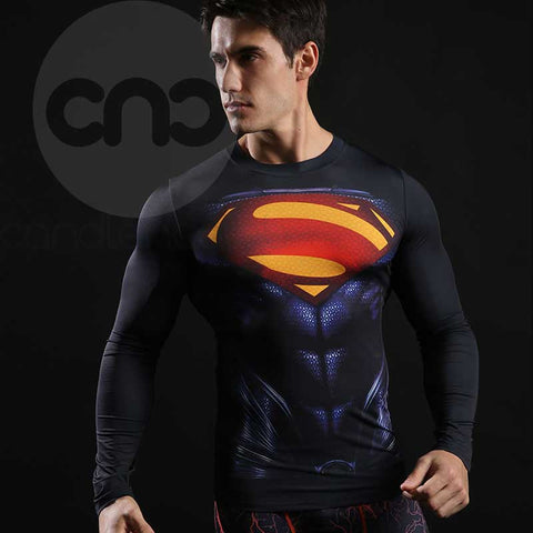 Superhero Superman's 2013-Man of Steel Red and Black 3D Compression Longsleeve