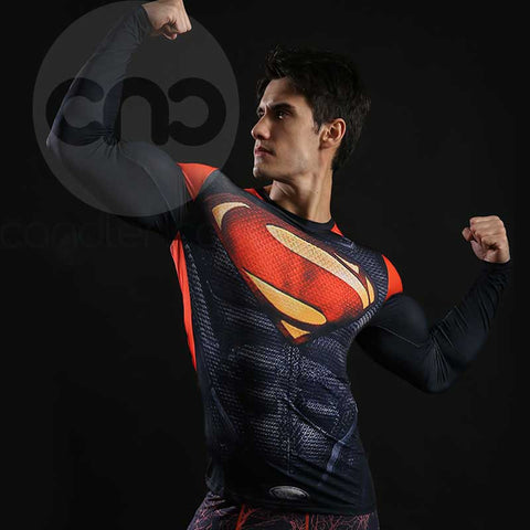 Superhero Superman's 2013-Man of Steel Red and Black Compression Long Sleeve
